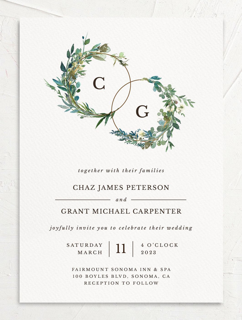 rustic spring wedding invitation with greenery watercolor design and monograms