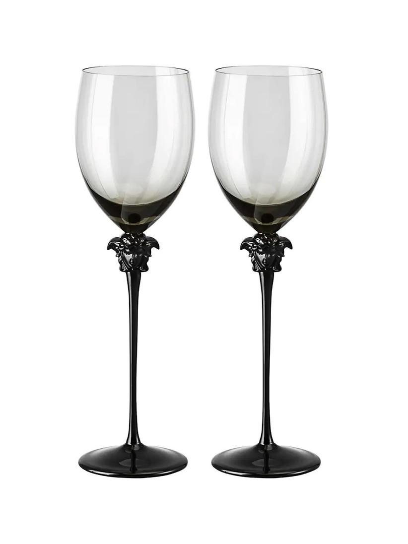 Gothic set of wedding champagne glasses