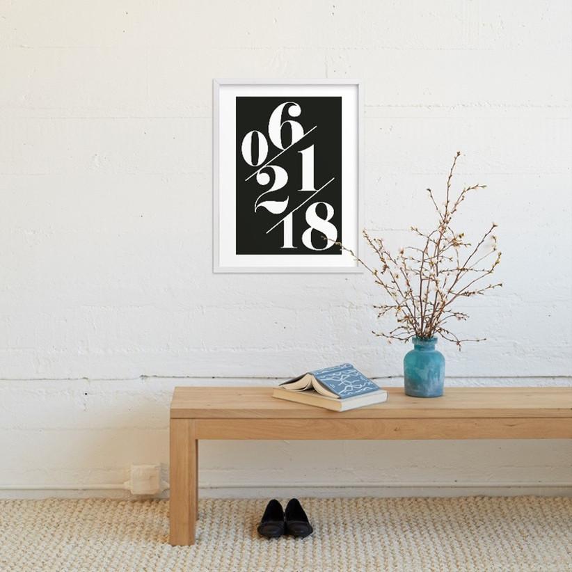 Black and white date print in white frame custom wedding gift