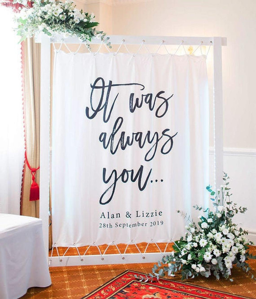It Was Always You personalized engagement party backdrop