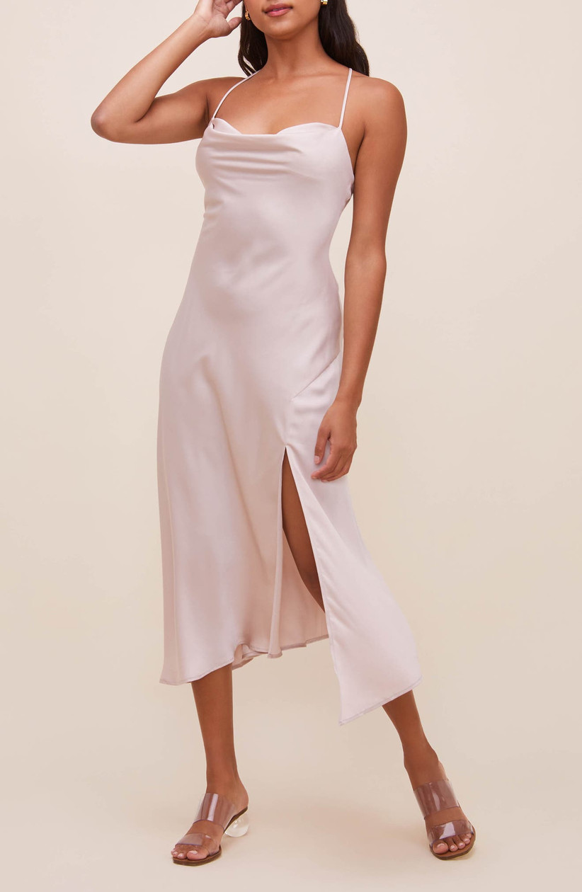 simple bachelorette party dress pale pink midi-length slip dress with side slit and spaghetti straps