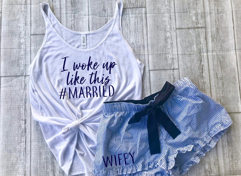 married bride tank top and striped shorts