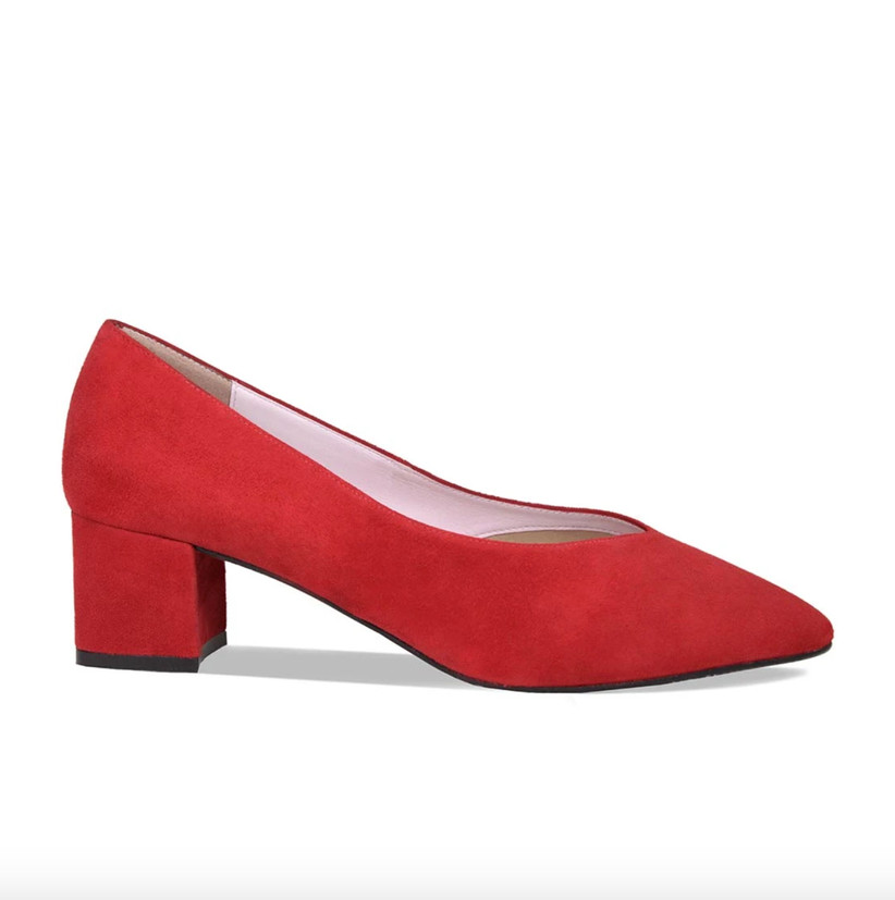 Wedding Guest Shoes red suede pumps