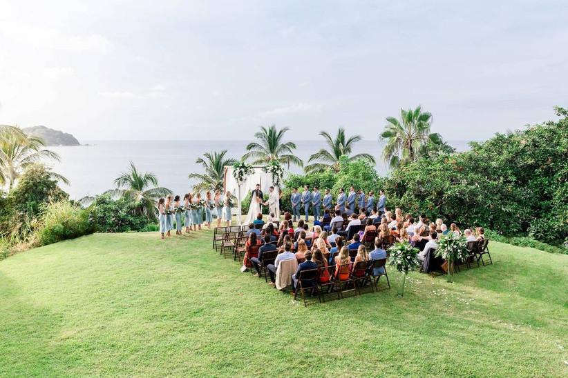 outdoor destination wedding ceremony overlooking ocean