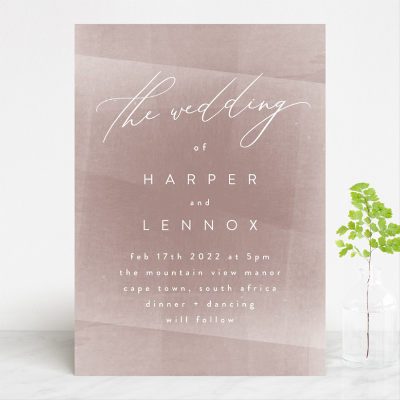 pink winter wedding invitations
