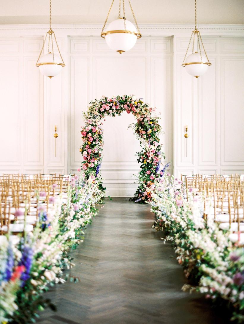 spring wedding idea floral arch