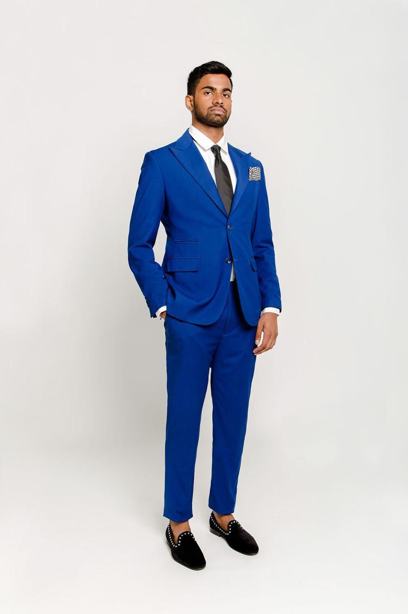 Royal blue summer wedding suit for formal beach wedding