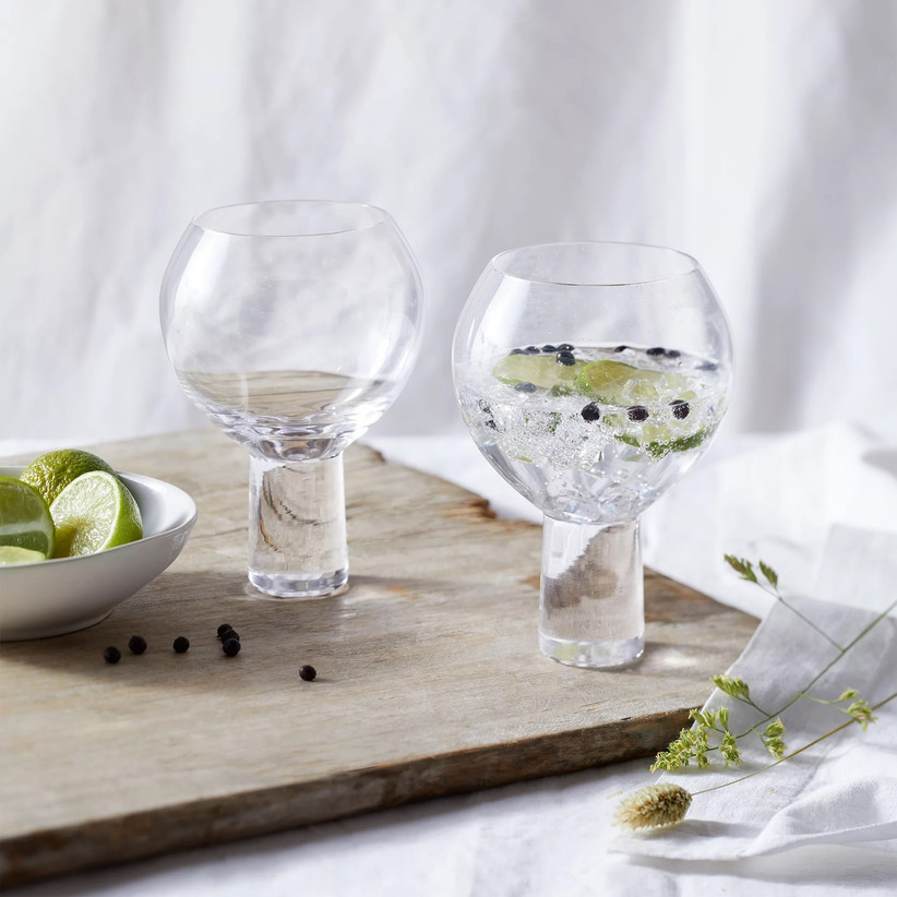 Unique set of two crystal gin glasses
