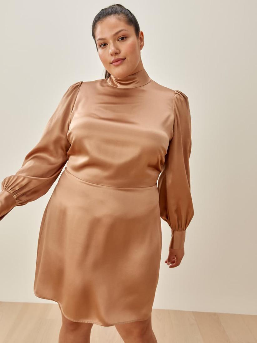 Beige silk long-sleeve dress