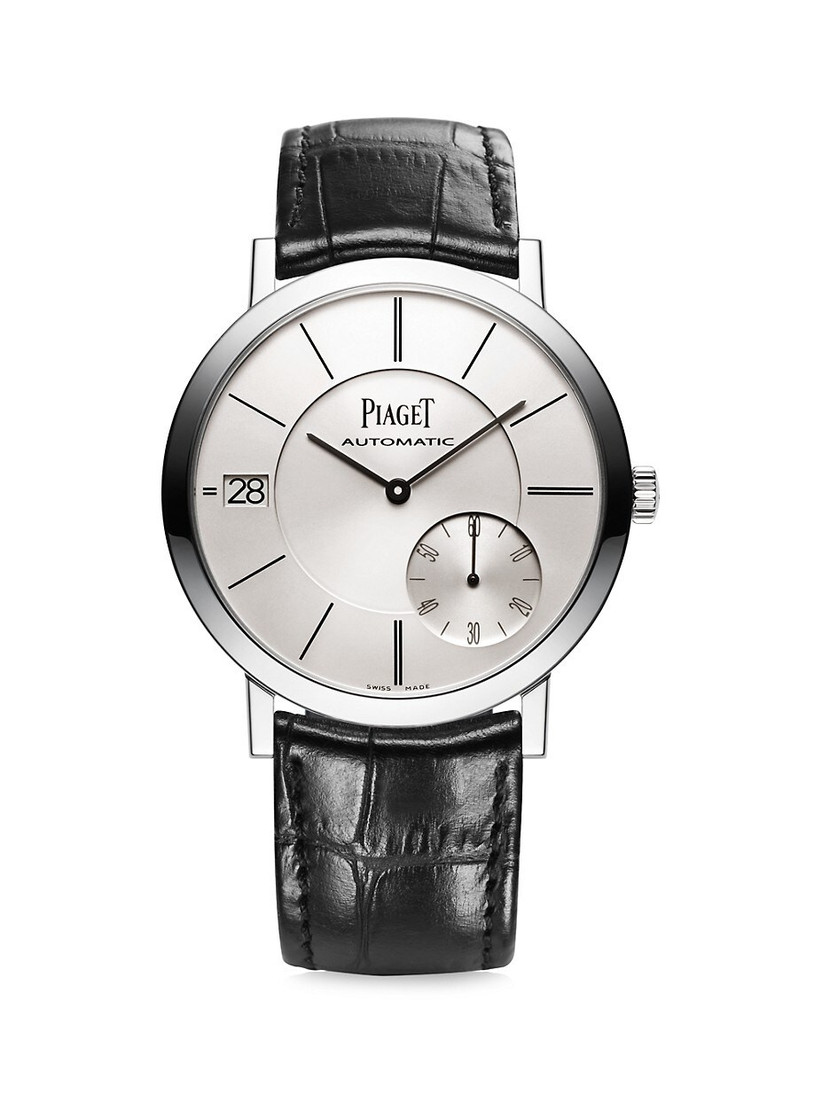 Classic leather strap watch with white gold case and silvered dial