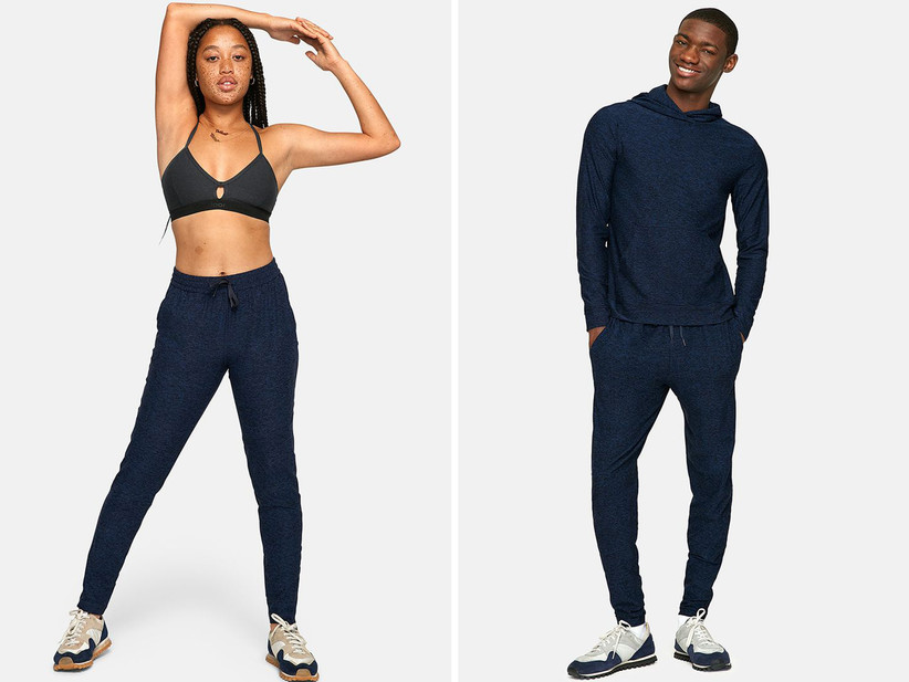 Collage of models from left to right: woman wearing bra and navy sweatpants, man wearing navy sweatpants and matching hoodie