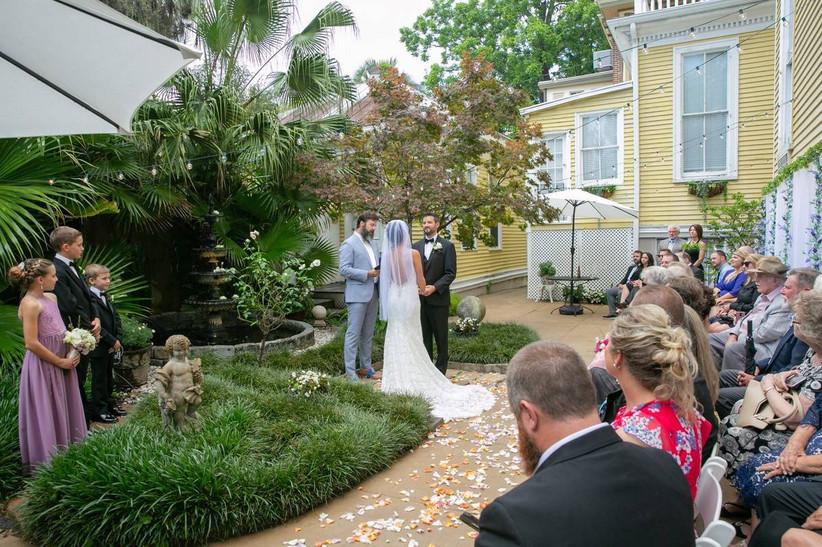 couple stand at the altar at forsyth park inn