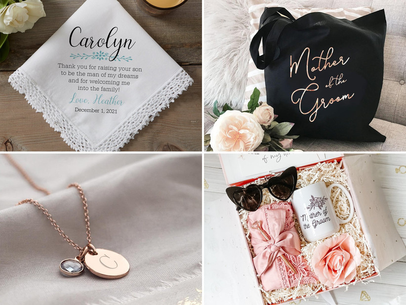 Collage of four mother of the groom gift ideas including hankie, tote, necklace, and gift box
