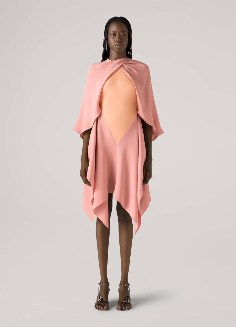 Handkerchief hem designer cape dress