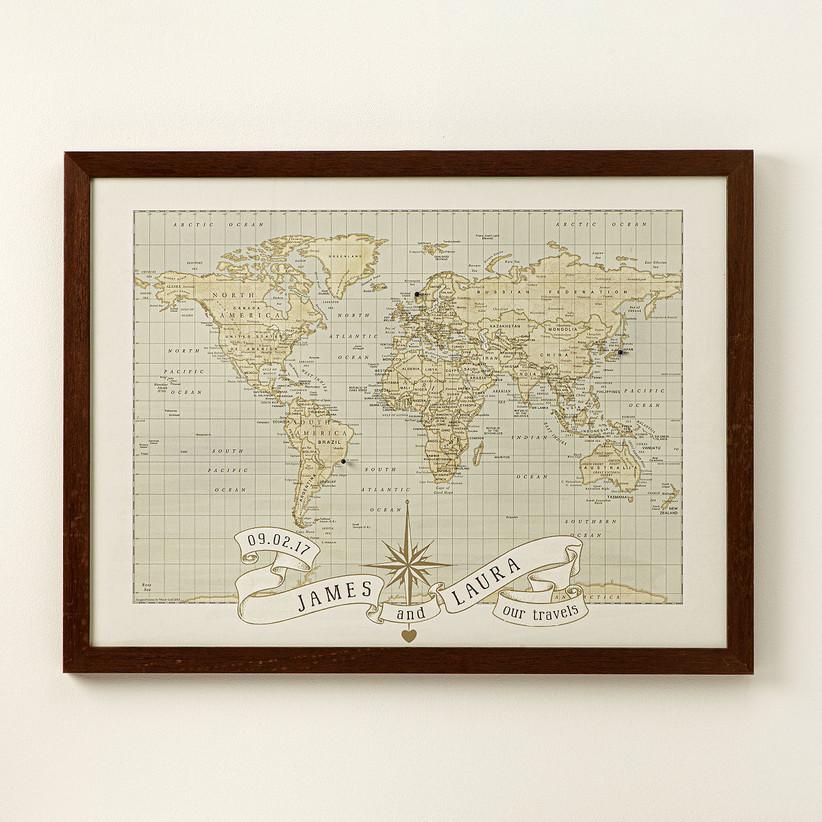 Push-pin world travel map unique 18th anniversary gift idea