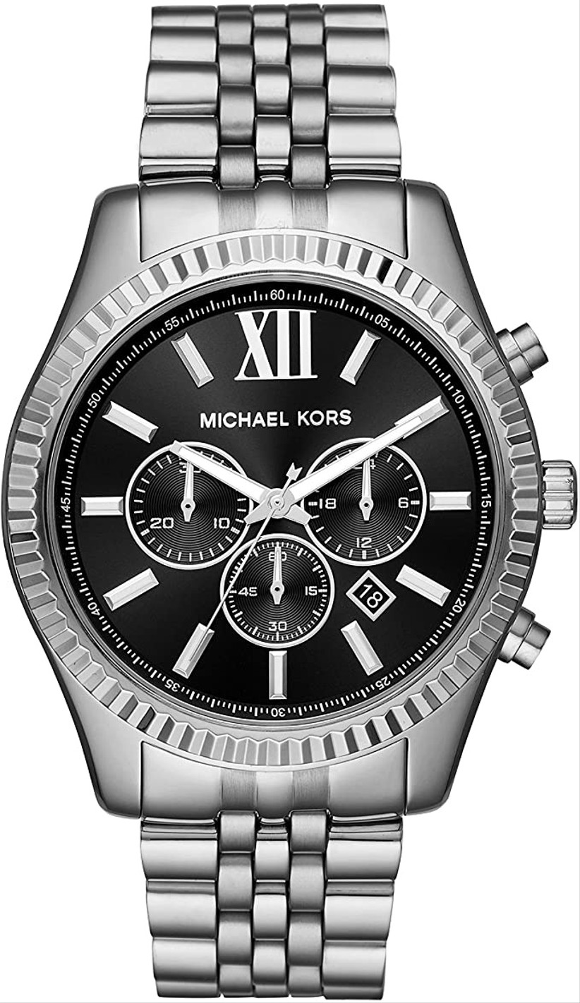 michael kors silver and black wristwatch