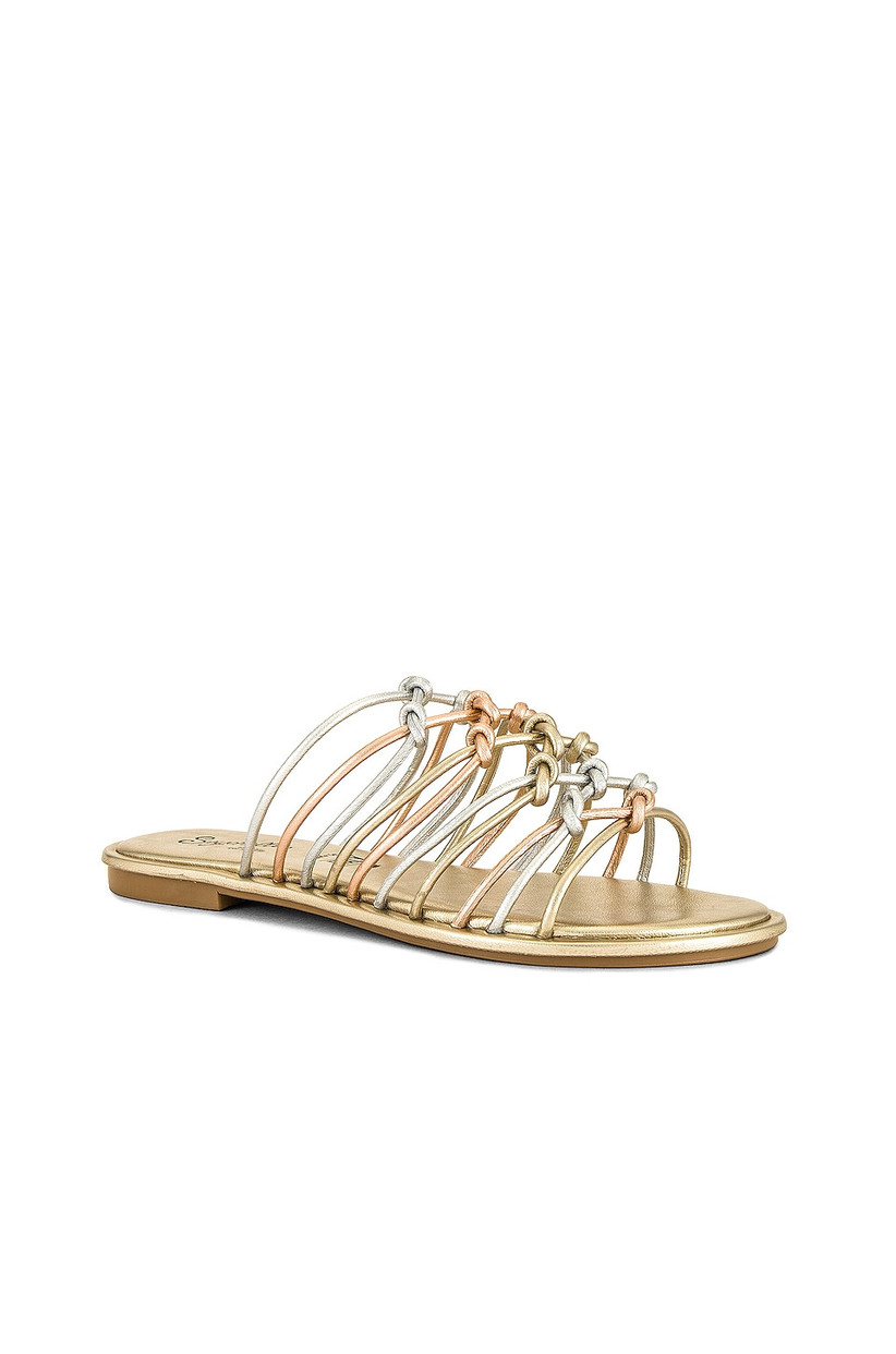 metallic flat wedding sandal with silver, gold and rose gold criss-cross straps