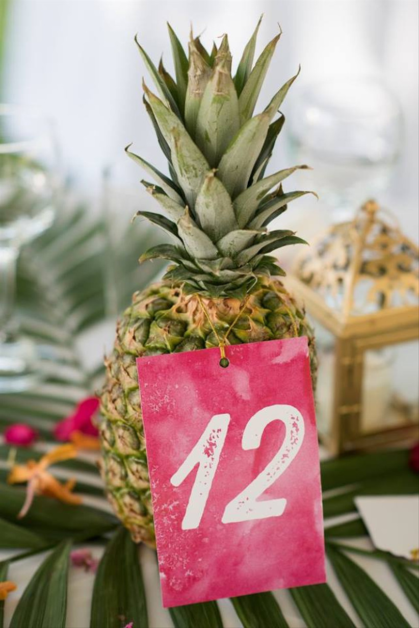 beach wedding table number pineapple decorated with pink ombre card