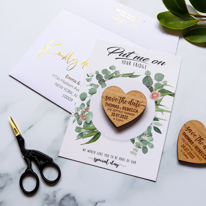 fall save the dates heart wooden magnet