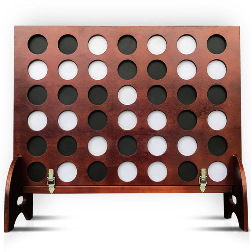giant connect four game board with black and white game pieces