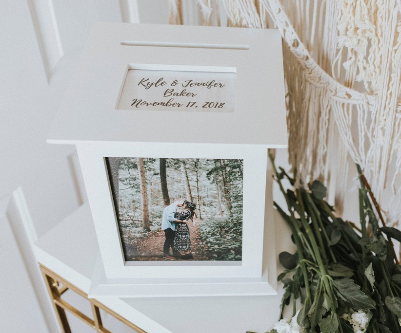 white wedding card box decorated with engagement photo
