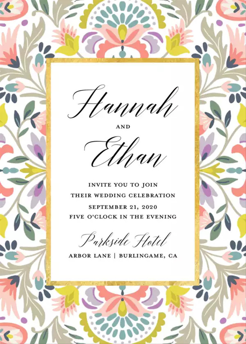 colorful summer wedding invitation with floral mosaic print border