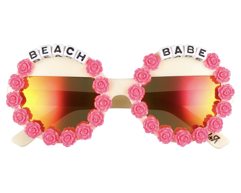 round sunglasses with pink rosette beads and letter beads that read