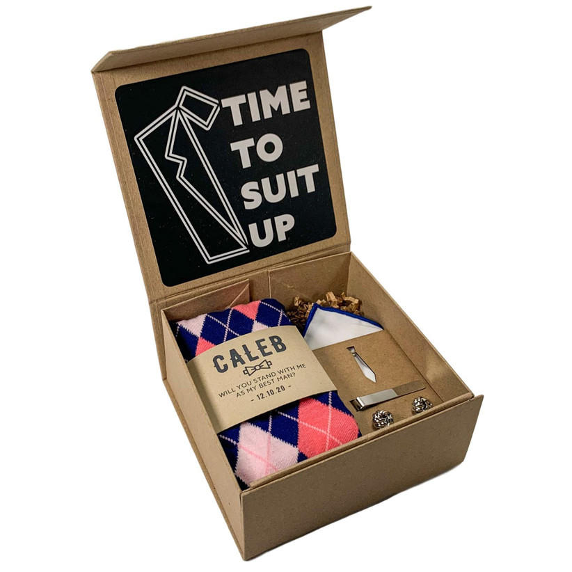 Time To Suit Up groomsmen proposal box