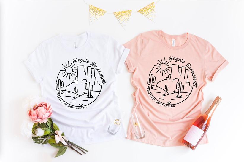 Girls Just Wanna Have Sun desert bachelorette party shirts