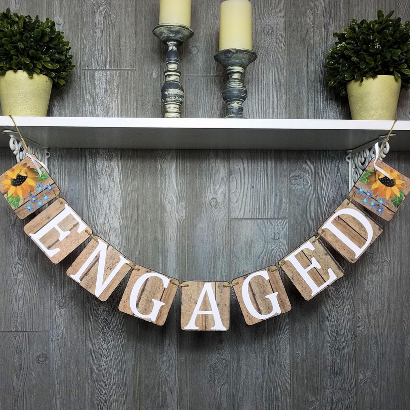 Rustic paper and clipboard panel Engaged bunting engagement party banner