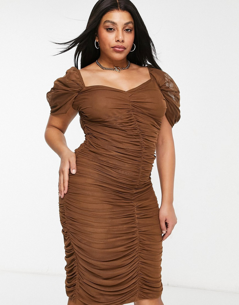 brown plus-size bodycon bachelorette party dress with allover ruching and cap sleeves