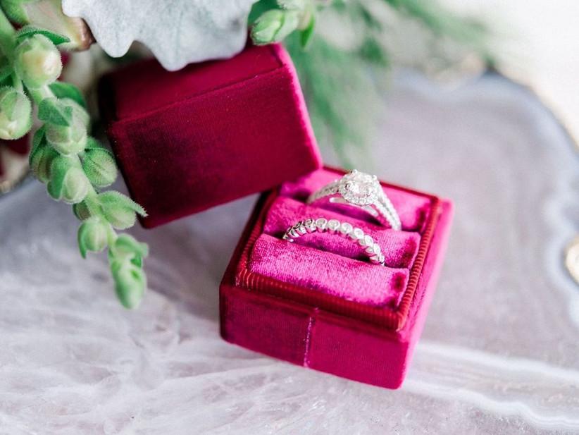 red velvet square engagement ring box