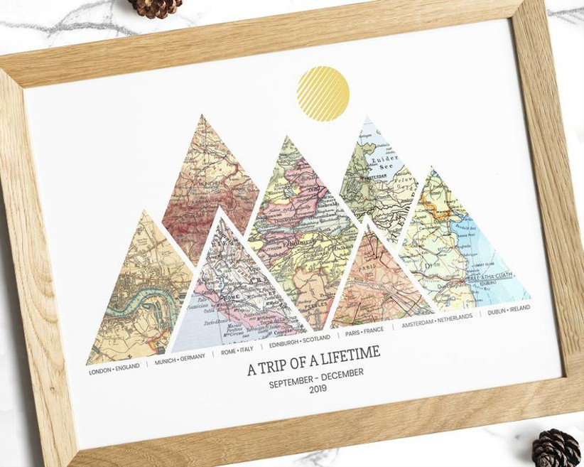etsy personalized adventure map for 14th year wedding anniversary gift
