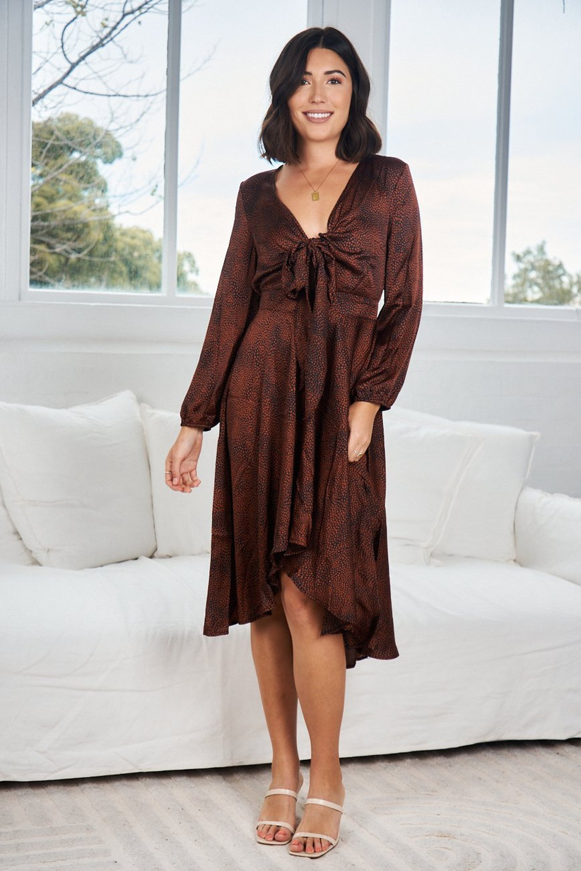 Bronze-hued midi fall wedding guest dress with long sleeves