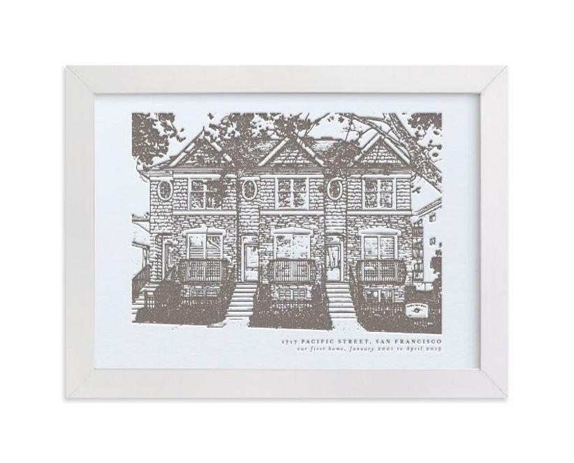 Custom black and white illustration-style framed portrait of house