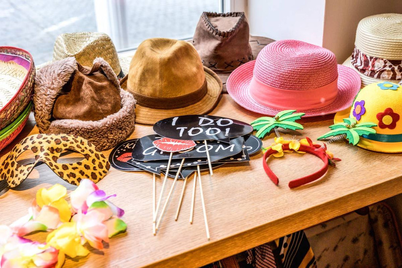 photo booth props hats, speech bubbles