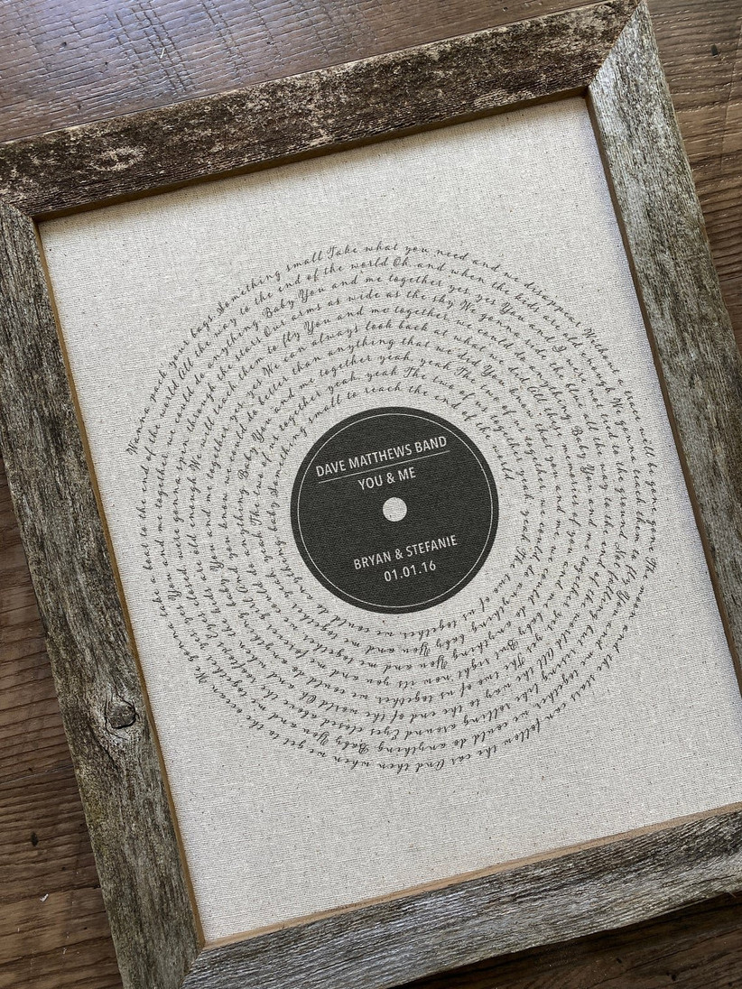 Song lyrics print father of the bride gift
