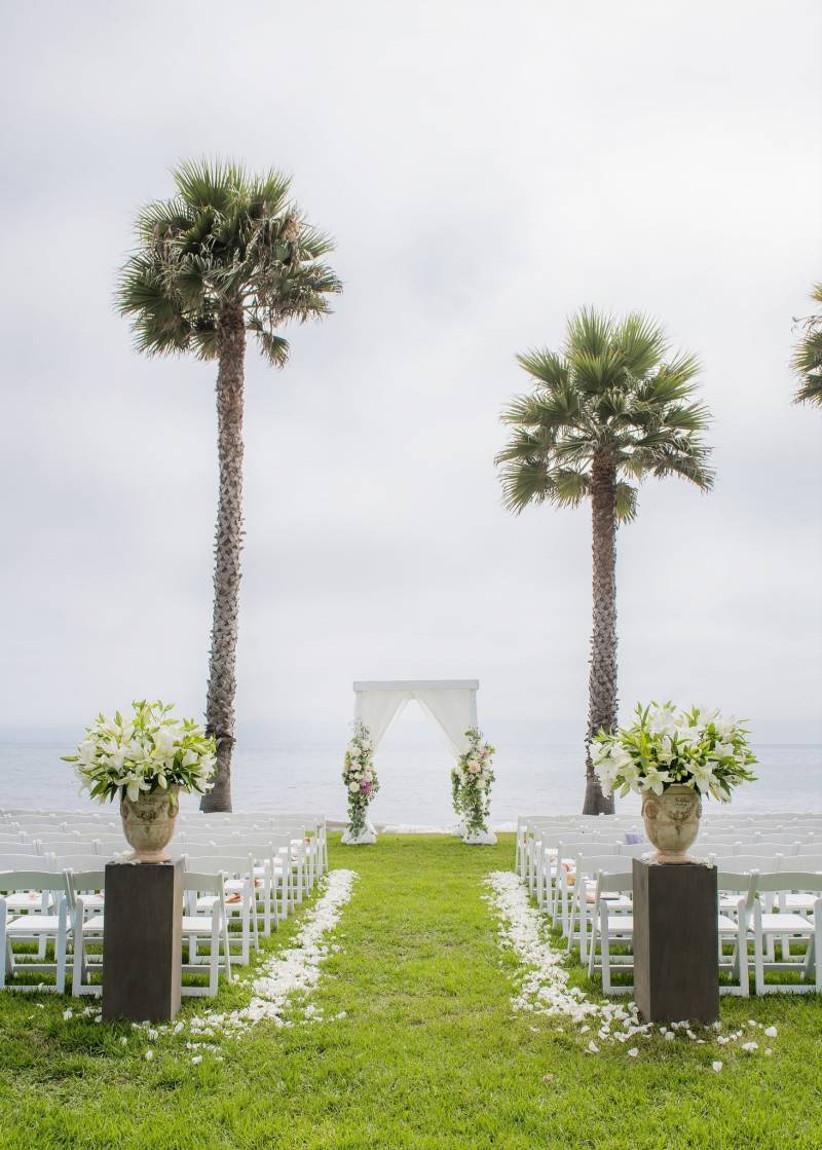 outdoor wedding ceremony overlooking beach and ocean in Santa Barbara