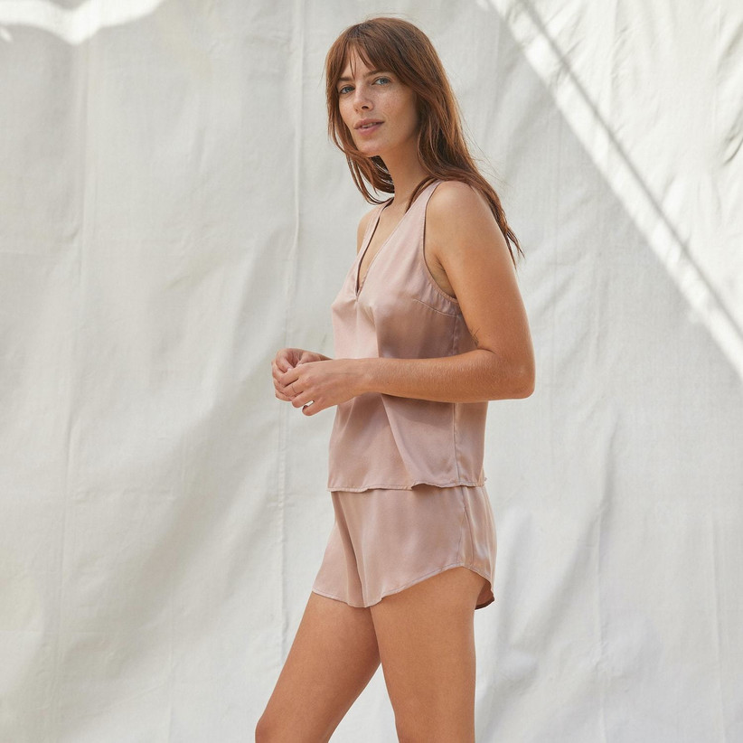 lunya washable silk set in blush nude color