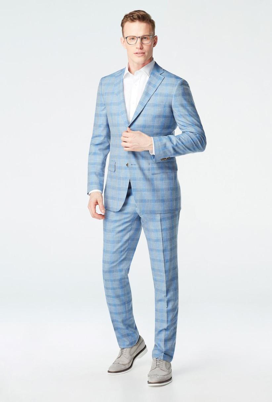 Light blue plaid summer wedding suit