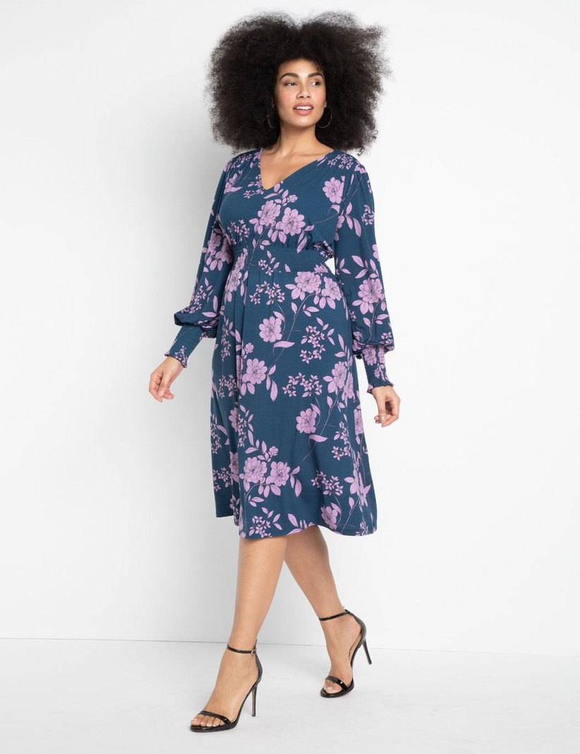 Navy floral long-sleeve dress