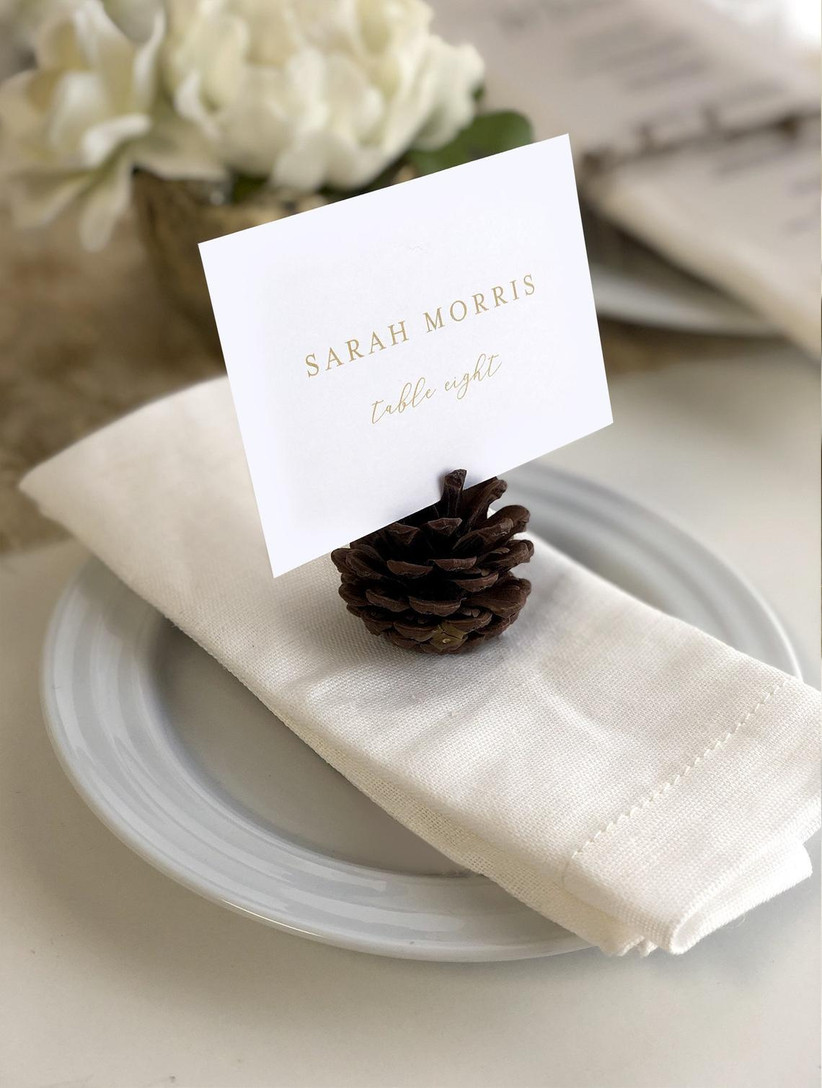 pinecone wedding place cards