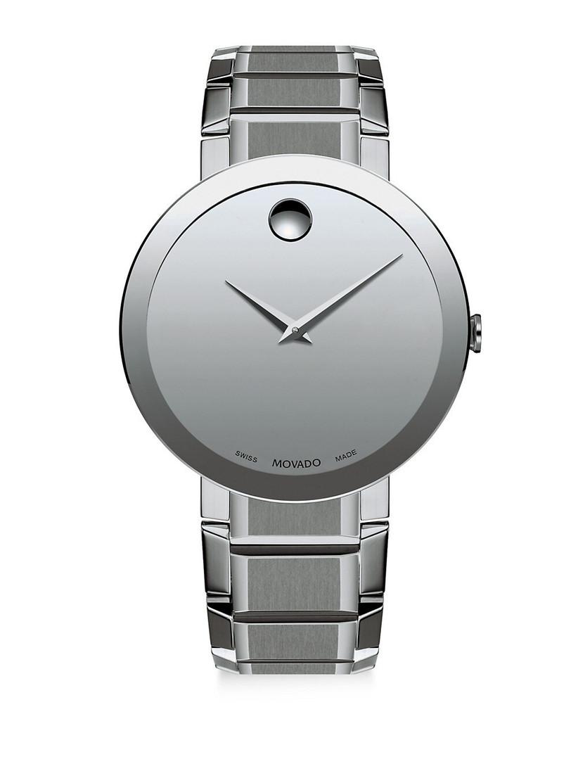 Movado minimalist stainless steel watch with flat bezel