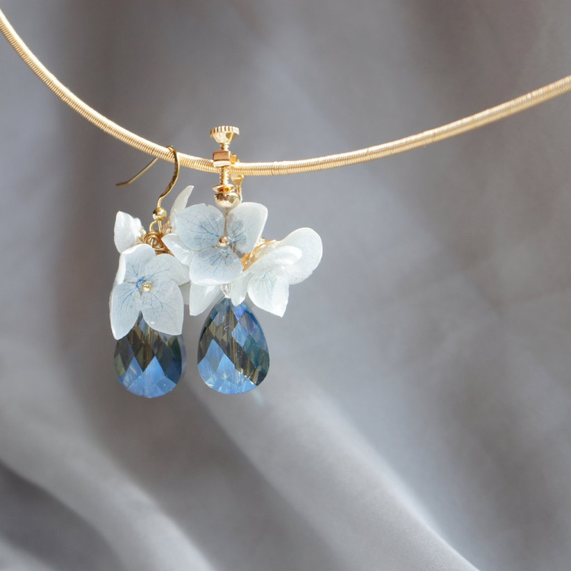 Real flower and crystal drop earrings mother of the groom gift
