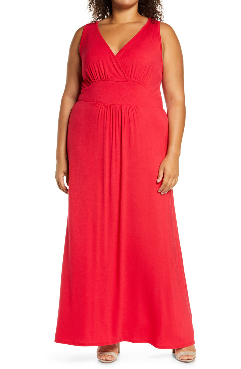 Casual bright red maxi dress for summer wedding