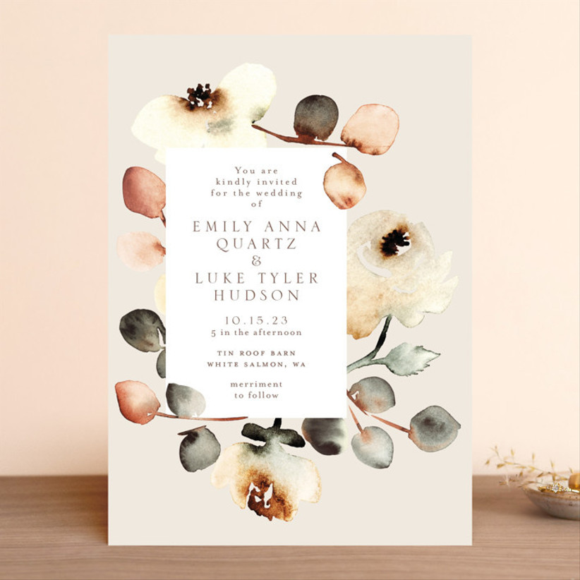 artistic fall wedding invitation