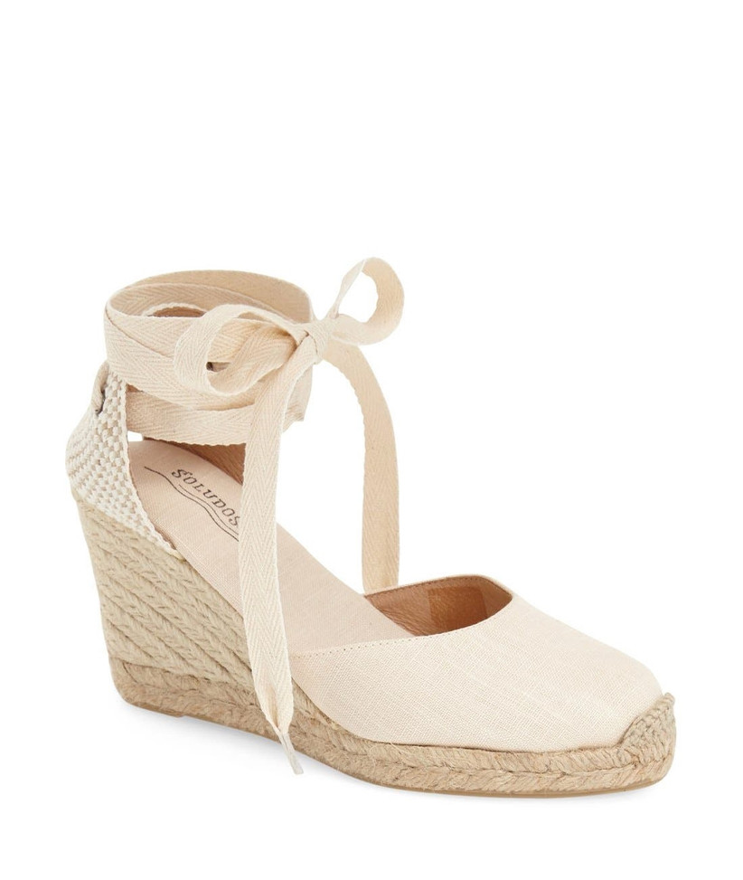 rope wedge espadrille with ankle laces in pale cream linen color