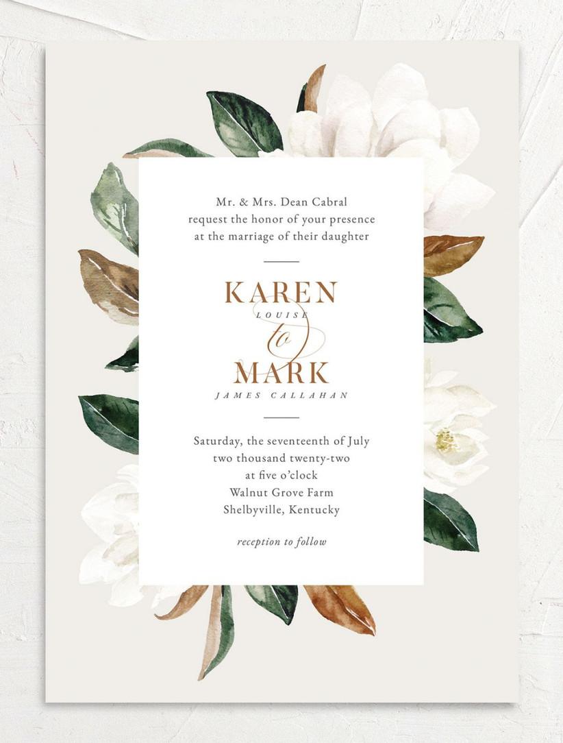 classic summer wedding invitation with magnolia flower background