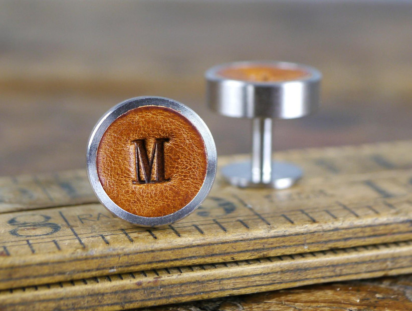 Custom leather cuff links groomsmen proposal gift