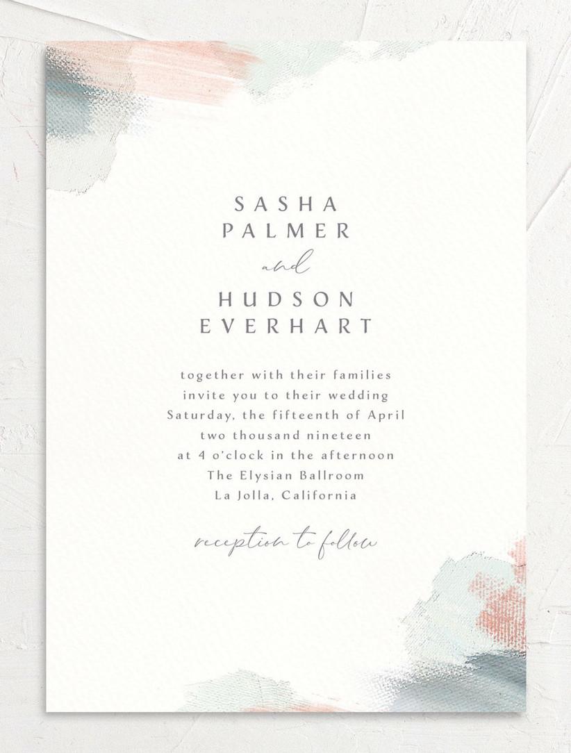 minimalist spring wedding invitation with abstract paint brushstroke design